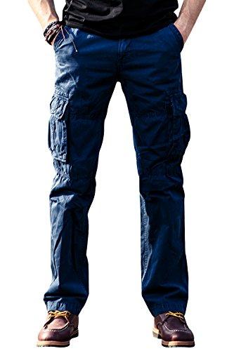 Wsirmet Mens 100/% Cotton Regular Fit Straight Leg Casual Pants with Zipper in Leg